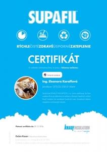 Certifikát Supafil Knauf Insulation
